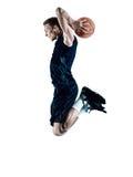 Silhouette d'isolement par joueur de basket d'homme Images libres de droits