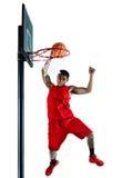 Silhouette d'isolement par joueur de basket d'homme Photographie stock