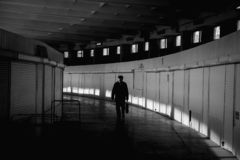 Silhouette d'Ivano-Frankivsk de hall du marché photos libres de droits