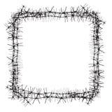 Silhouette d'obstacle grave Barbelé clôturant sous forme de cadre Illustration de vecteur Photographie stock libre de droits
