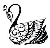 Silhouette d'oiseau de cygne Photos libres de droits