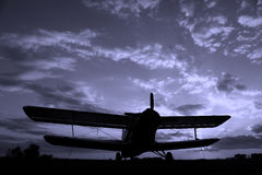 Silhouette d'un avion Photographie stock