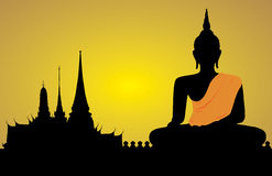 Silhouette d'un Bouddha Photo stock