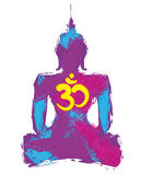 Silhouette d'un Bouddha illustration stock