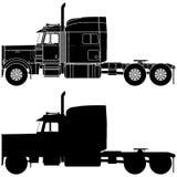 Silhouette d'un camion Peterbilt 379 Images stock