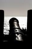 Silhouette d'un canon à Carthagène Photographie stock libre de droits