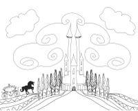 Silhouette d'un chariot de cheval et d'un château médiéval Image stock