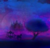 Silhouette d'un chariot de cheval et d'un château médiéval Photo libre de droits