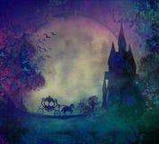 Silhouette d'un chariot de cheval et d'un mediev Photo stock