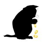 Silhouette d'un chaton d'une manière amusante Photographie stock libre de droits