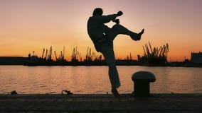 Silhouette d'un combattant du Taekwondo sur un coucher du soleil au-dessus de mer photo libre de droits