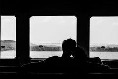 Silhouette d'un couple Image libre de droits