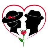 Silhouette d'un couple d'amants Image libre de droits