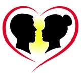 Silhouette d'un couple d'amants Photos libres de droits
