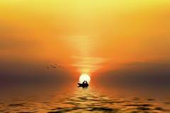 Silhouette d'un couple dans le bateau Image libre de droits