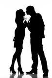 Silhouette d'un couple heureux Photographie stock