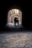 Silhouette d'un cycliste Photo stock