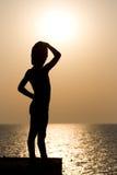 Silhouette d'un enfant Images stock