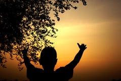 Silhouette d'un garçon observant au coucher du soleil Photo stock