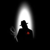Silhouette d'un homme avec une cigarette Image libre de droits