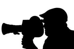 Silhouette d'un homme barbu dans le côté Images libres de droits