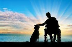 Silhouette d'un homme handicapé dans un fauteuil roulant frottant son chien Photo libre de droits
