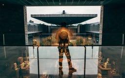 Silhouette d'un homme par réflexion dans le Musée National de l'anthropologie Mexico Image libre de droits
