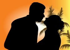 Silhouette d'un jeune couple illustration stock
