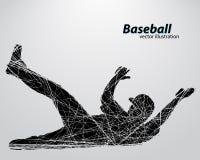 Silhouette d'un joueur de baseball Photos stock