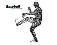 Silhouette d'un joueur de baseball Photo stock