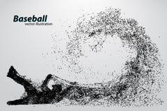 silhouette d'un joueur de baseball de particule Images stock