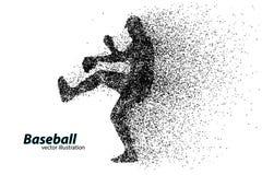 silhouette d'un joueur de baseball de particule Images libres de droits