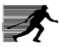 silhouette d'un joueur de baseball et d'un code barres Photo stock