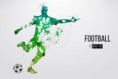 Silhouette d'un joueur de football des particules illustration stock