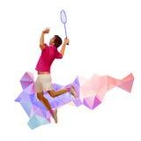 Silhouette d'un joueur professionnel de badminton Image libre de droits