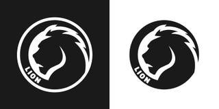 Silhouette d'un lion, logo monochrome Photographie stock libre de droits