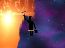 Silhouette d'un peintre avec une position Image stock