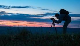 Silhouette d'un photographe professionnel Image libre de droits