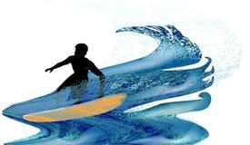 Silhouette d'un surfer dans les vagues turbulentes Photo stock
