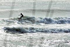 Silhouette d'un surfer sur la vague au crépuscule Images libres de droits