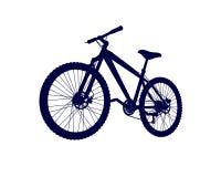Silhouette d'une bicyclette bleue de vecteur sur un fond blanc Illustration Libre de Droits