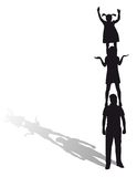 Silhouette d'une famille Photo stock