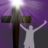 Silhouette d'une femme à la croix illustration stock