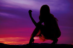 Silhouette d'une femme dans une robe en bas d'un genou  Photographie stock libre de droits