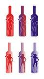 Silhouette d'une femme et d'une bouteille Photographie stock libre de droits
