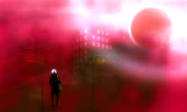 Silhouette d'une femme marchant la nuit dans la ville Photo stock