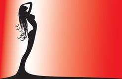 Silhouette d'une femme sur le rouge Photos libres de droits