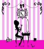Silhouette d'une fille à sa vanité illustration stock