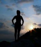 Silhouette d'une fille Photos libres de droits