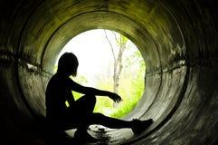 Silhouette d'une fille Photographie stock libre de droits